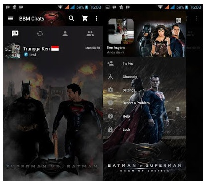 BBM Mod Superman VS Batman V3.0.0.18 Apk 2016 ( Clone )