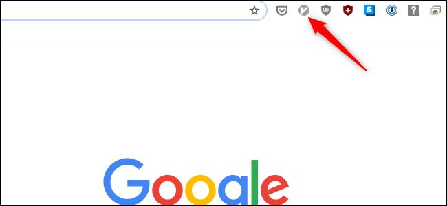 يظهر رمز Vimium باللون الرمادي في نافذة Chrome.