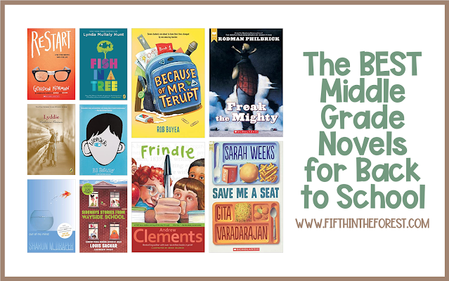 Title Image for The 10 Best Back to School Novels for Upper Elementary. Featuring 10 Novel Covers