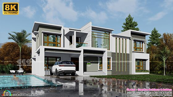 8k rendered contemporary Kerala home with ouside pool