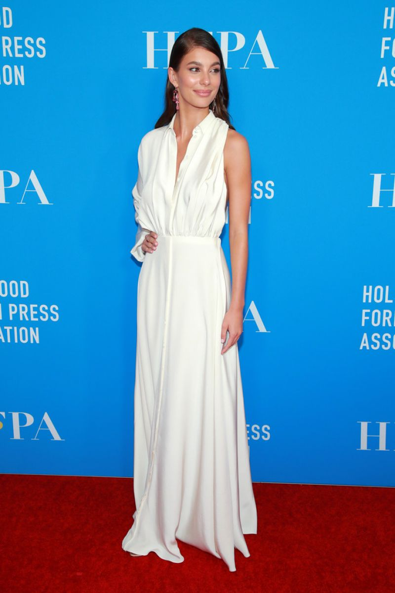 Camila Morrone stuns in floor-length white gown at Hollywood Foreign Press Association's Annual Grants Banquet in Beverly Hills