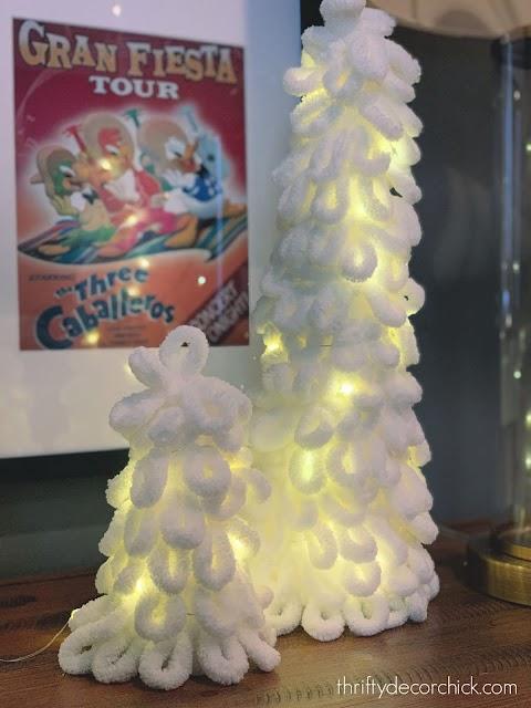 Fairy lights inside foam yarn trees