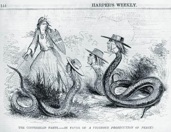 Dibujo sobre los Copperheads, publicado en Harper's Weekly, febrero de 1863.