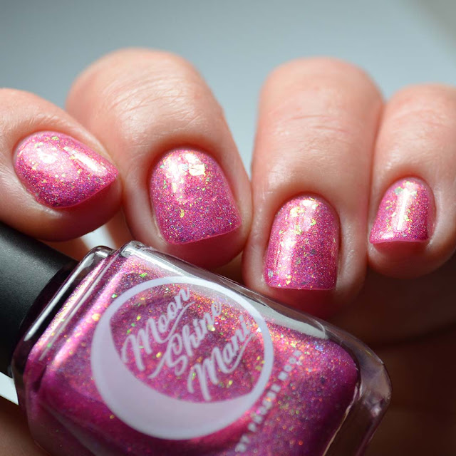 pink holographic nail polish low light swatch