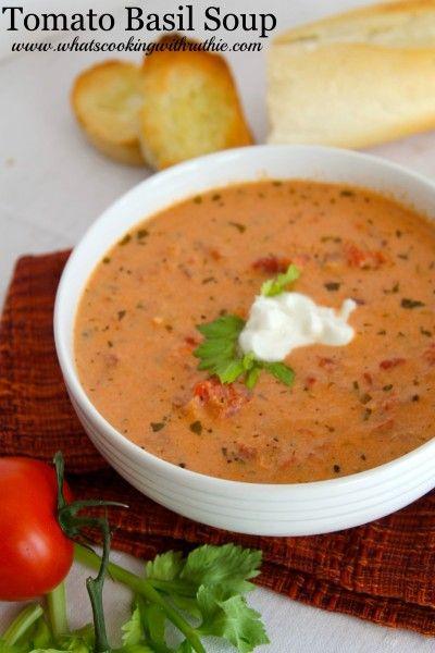 Tomato Basil Soup #tomato #basil #soup #souprecipes #tomatosoup #healthysouprecipes #healthysoup