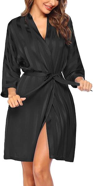 Black Satin Bridal Robes