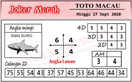 Prediksi Joker Merah Macau Minggu 27 September 2020