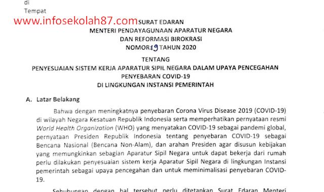 Surat Edaran Menteri PANRB No.19 Tahun 2020 tentang Penyesuaian Sistem Kerja Aparatur Sipil Negara dalam Upaya Pencegahan Covid-19 di Lingkungan Instansi Pemerintah