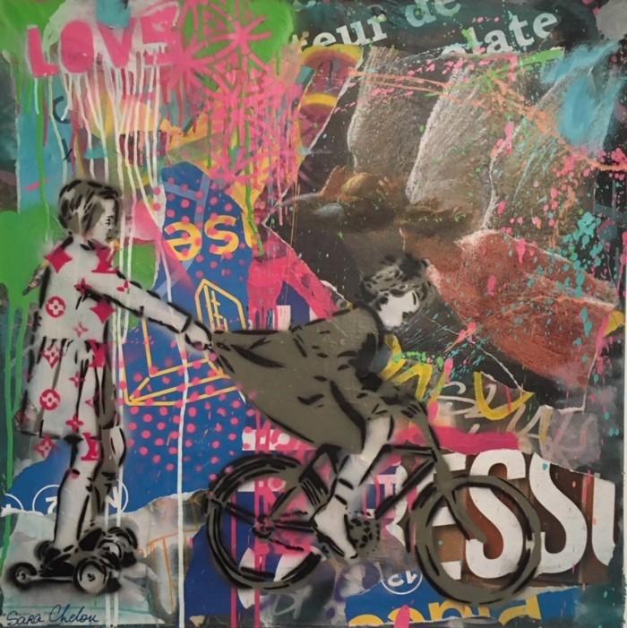 Французский уличный и студийный художник. Sara Chelou