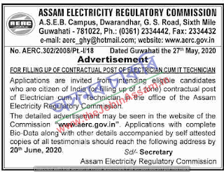 Assam Electricity Regulatory Commission Recruitment 2020
