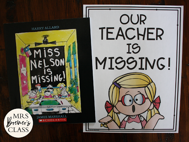 Miss Nelson is Missing book study activities unit with Common Core aligned literacy companion activities for Kindergarten First Grade Second Grade