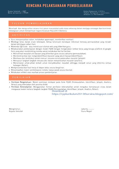 RPP 1 Lembar  SMP PPKN Kelas VII Semester 1 Tahun Ajaran 2020-2021
