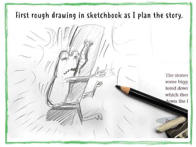 Pencil sketch of book illustration