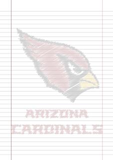 Papel Pautado Arizona Cardinals rabiscado PDF para imprimir na folha A4