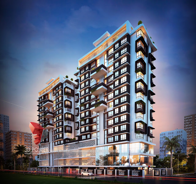 architectural-rendering-commercial-apartment-evening-view