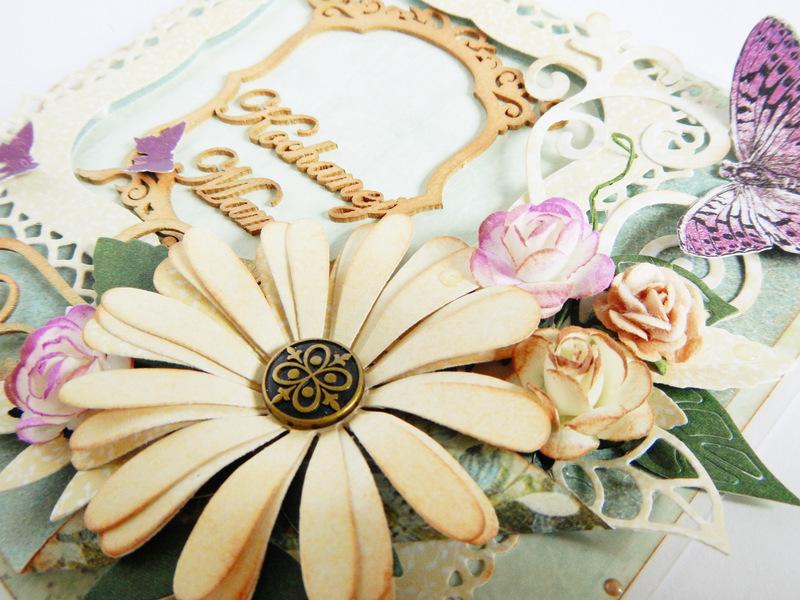 Kartka ręcznie robiona dla mamy z kwiatami i ramką