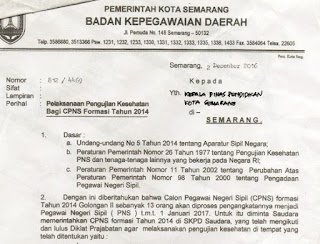Surat Pelaksanaan Pengujian Kesehatan Bagi CPNS Katagori II