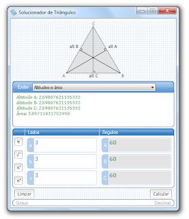 Solucionador de triângulos - área