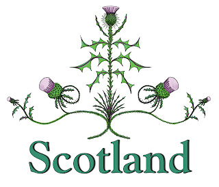 A detailed decorative Thistle in a pyramid arrangement with the word 'Scotland' underneath