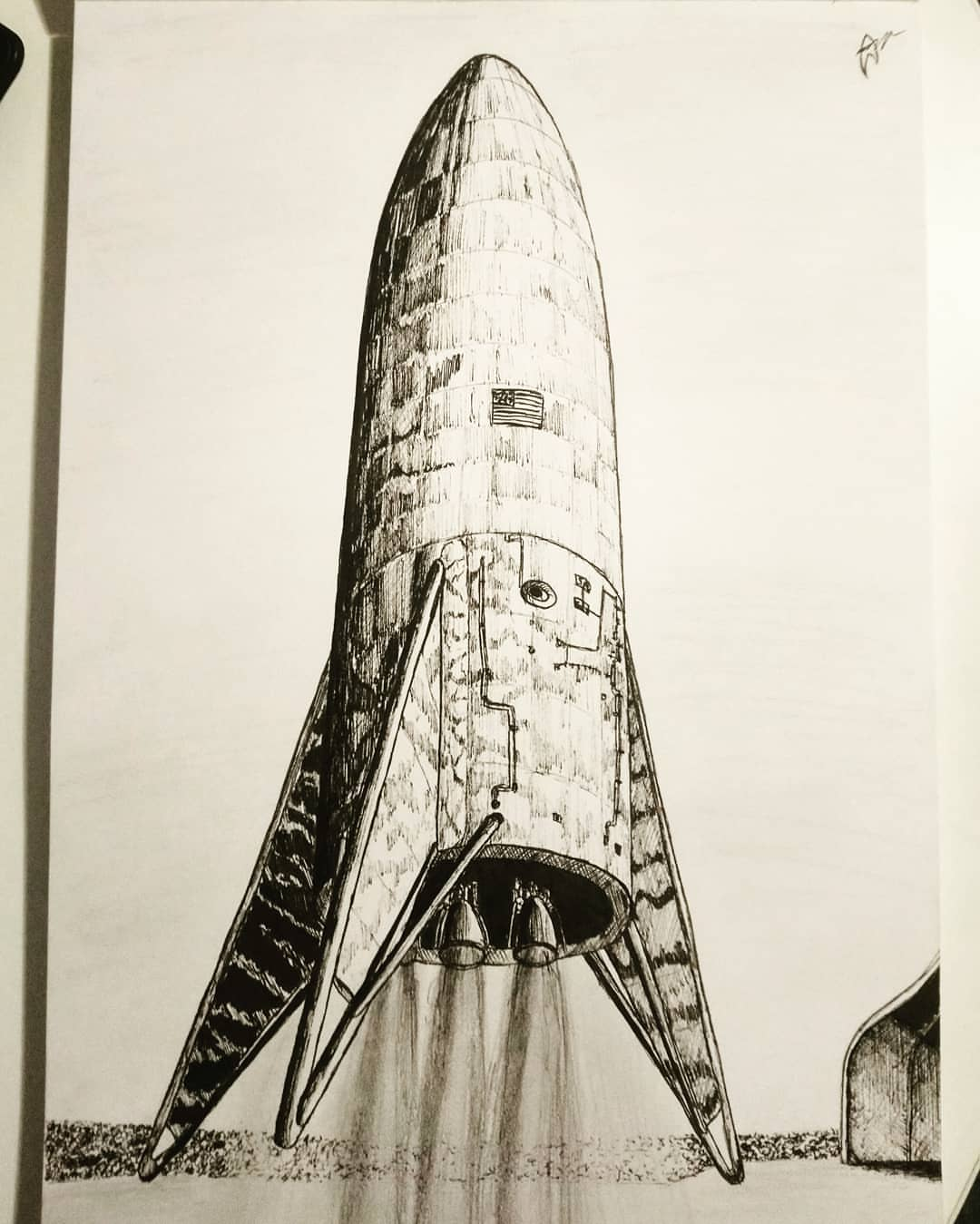 SpaceX Starship Mk 1 lifting up - sketch by Colin Doublier
