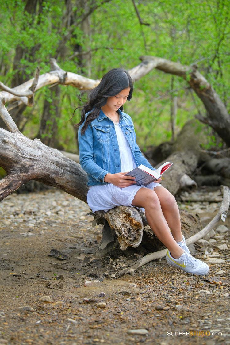Birthday Portraits for Teenage Girl reading book in Outdoor Nature SudeepStudio.com Ann Arbor Family Portrait Photographer