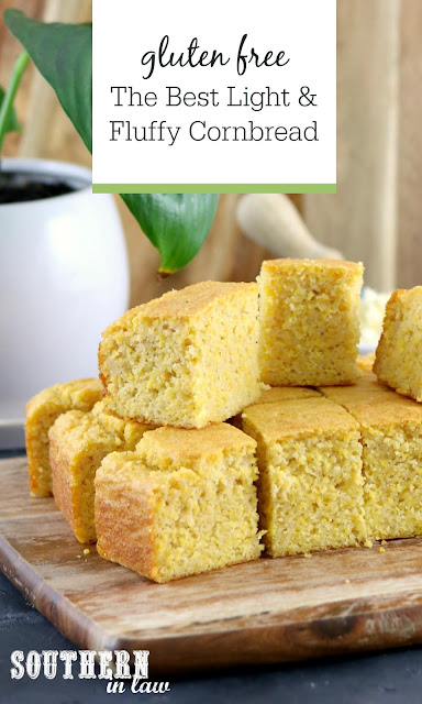 The Best Gluten Free Cornbread Recipe - light and fluffy cornbread, gluten free, healthy, low fat, clean eating recipe, summer side dishes