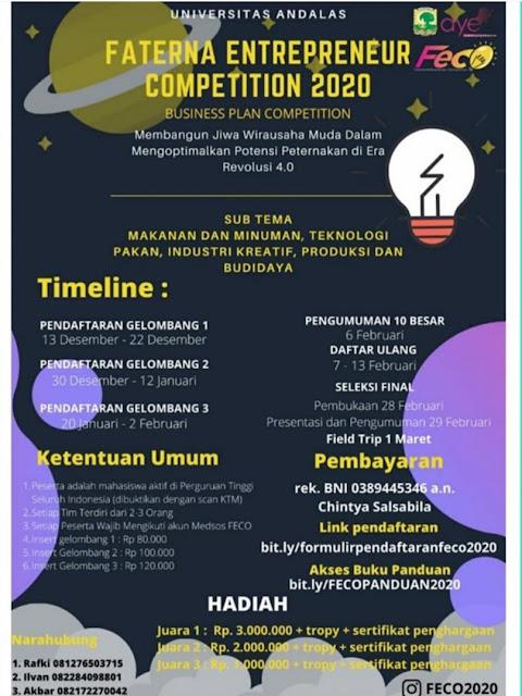 Lomba Bisnis Plan Competition tingkat Mahasiswa PTN/PTS se Indonesia