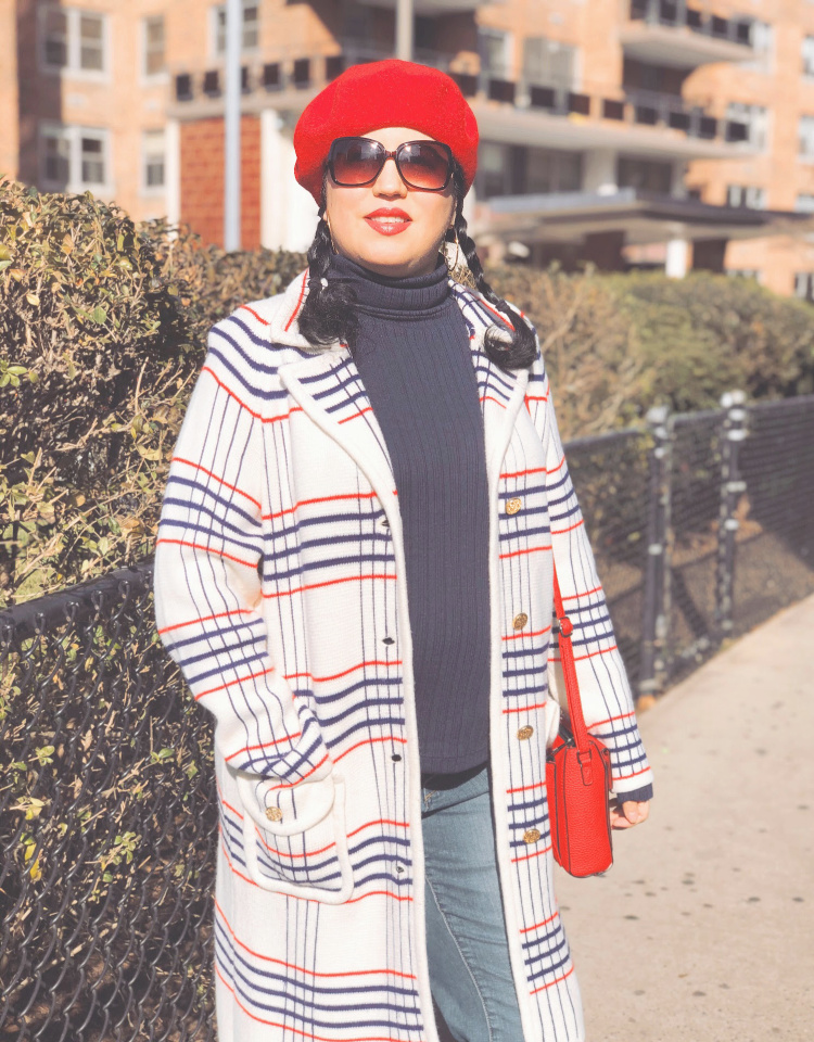A Vintage Nerd, Vintage Blog, Vintage Blogger, Sixties Fashion, Vintage Inspired Fashion, Sixties Sweater Coat, Plus Size Vintage, 1960s Inspired Fashion, 1960s Beret, New York Vintage Blogger, Retro Inspired Fashion, Vintage Plaid Coat