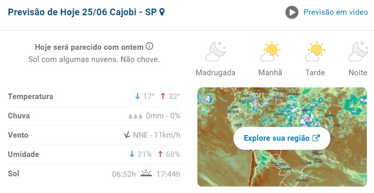 Confira a previsão do tempo nesta sexta-feira (25) em Cajobi