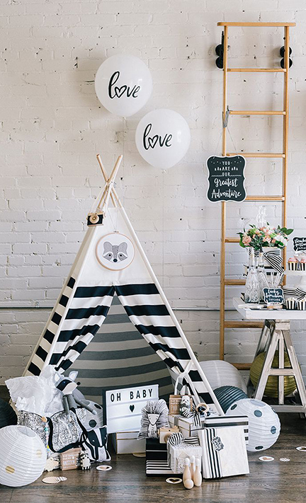 modern wilderness baby shower | creativebag.com