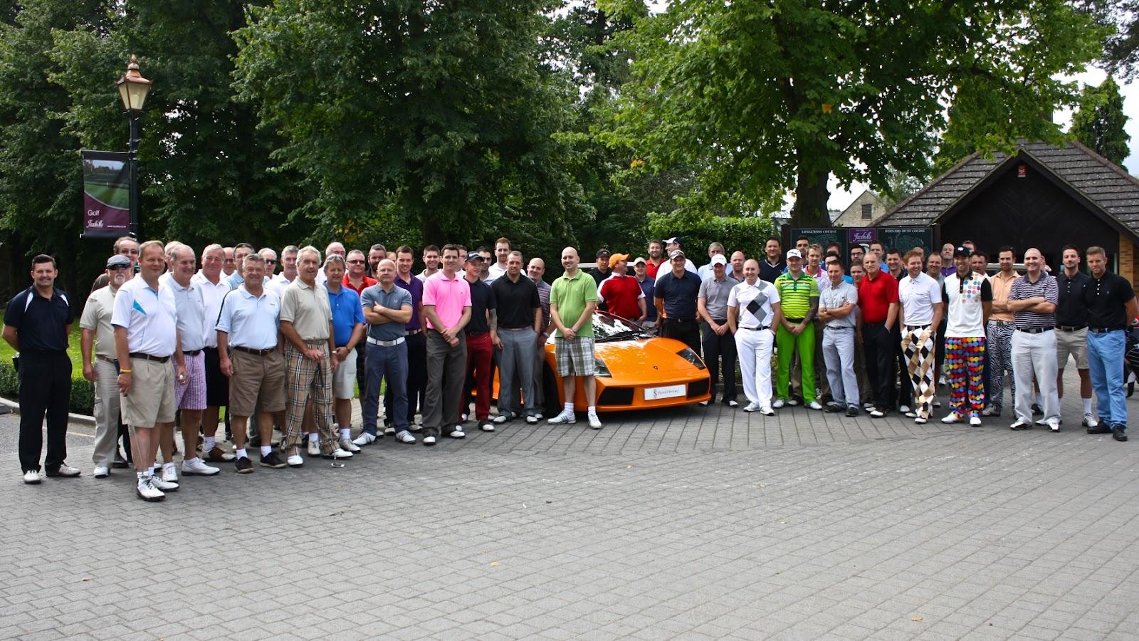 pagani zonda and lamborghini murcielago at charity golf event at