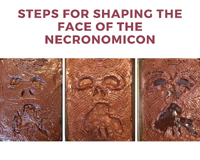 Three photos together showing how to shape the face into the bronie frosting.