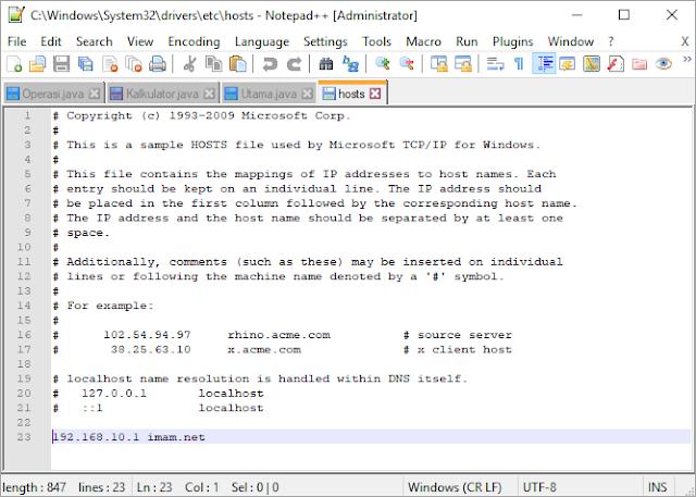 Mengedit file hosts menggunakan notepad++