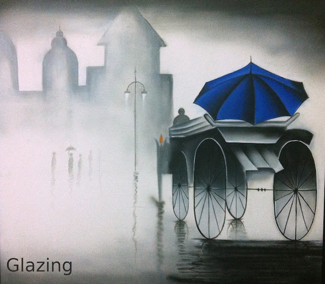 black and white acrylic painting of a man on a chariot, rainy day effect created using glazing
