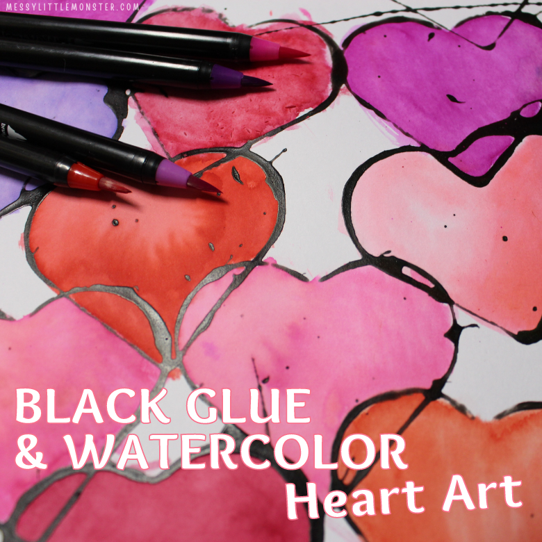 black glue and watercolor heart art project