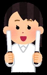 白いペンライトを持つ人のイラスト(女性)