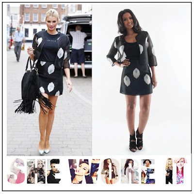 3/4 Sleeve, A-Line, Black, Blue, Chloe Sims, Co-ords, Comino Couture, Cream, Cropped, Embroidered, Feather Pattern, Jacket, Mini Skirt, Sheer, Skirt, The Only Way Is Essex, TOWIE,