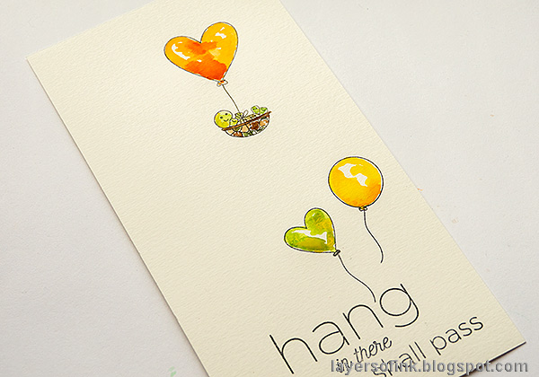 Layers of ink - Balloons, hearts and a cute turtle. Encouragement card tutorial by Anna-Karin Evaldsson.