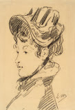 Portrait of M-me Jules Guillemet by Edouard Manet - Portrait drawings from Hermitage Museum