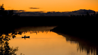 Boat, lake, sunset, clouds, sky, silhouette