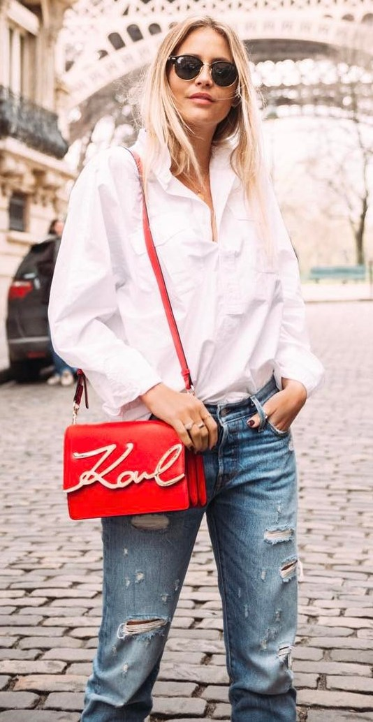 fashion trends outfit: shirt + bag + rips