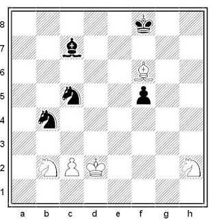 Estudio artístico de A. Sariechev (1º Premio, XL Aniversario Schachmaty URSS 1966)