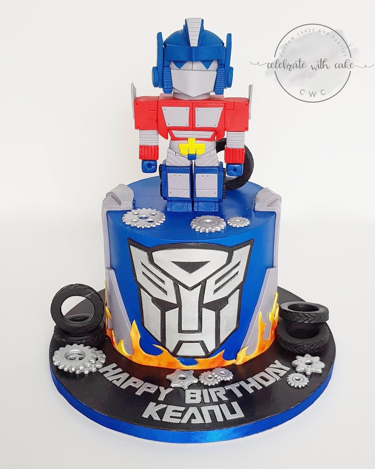 Incredible Celebrate With Cake Transformer Themed Featuring Optimus Prime Cake Funny Birthday Cards Online Alyptdamsfinfo