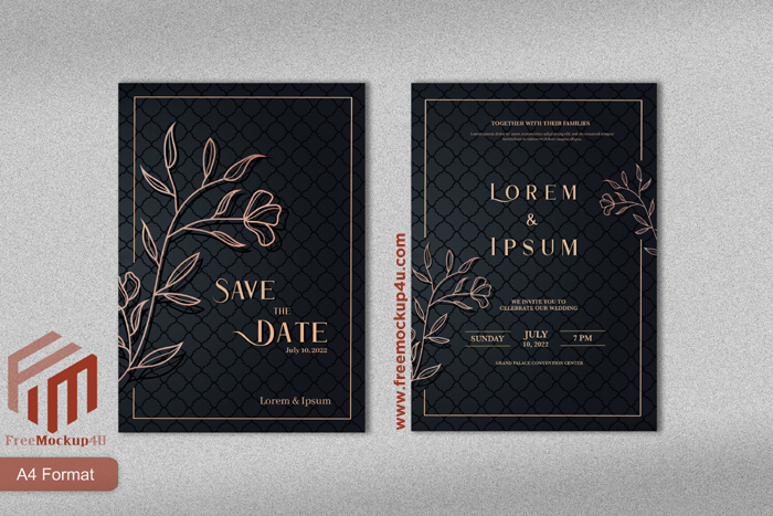 Luxury Wedding Invitation Template With Rose Gold Flower Black Background