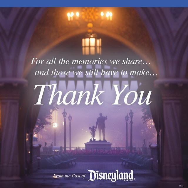 加洲迪士尼樂園度假區感謝大家支持, Disneyland-Closed-for-1-Year-IG-Post