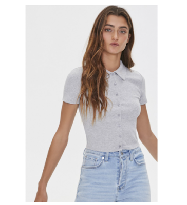 Forever 21 Women's Ribbed Button-Down Polo Shirt