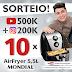 SORTEIO: 500k no Canal e 200k no Instagram!