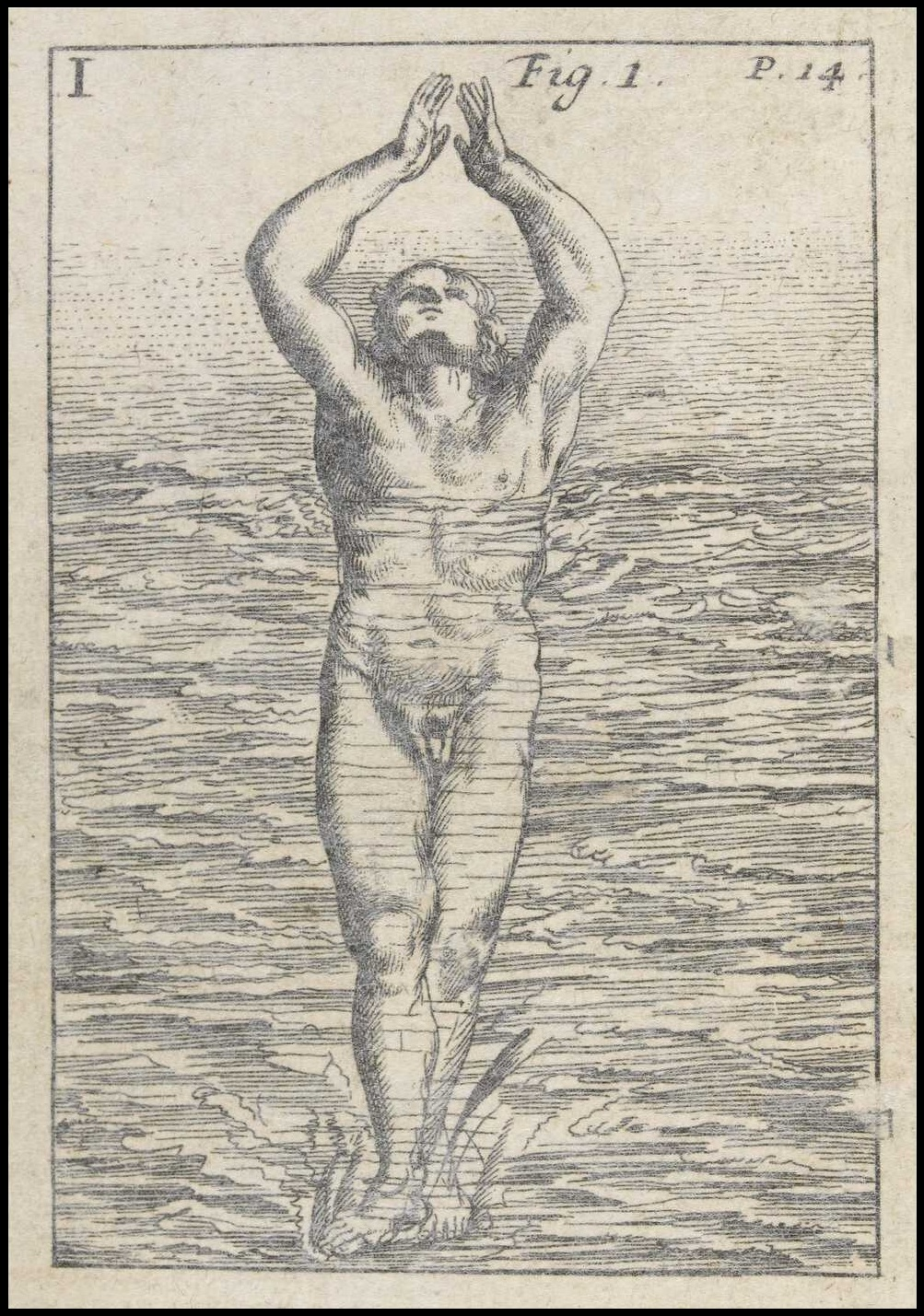 illustration in early modern swimming manual of nude man entering water feet first