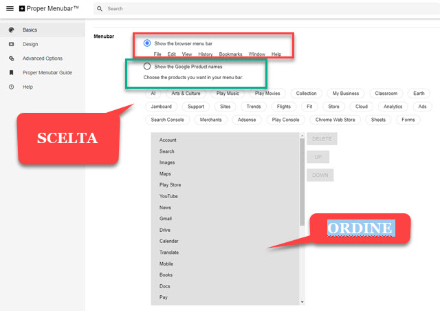scelta del menu classico o dei prodotti google
