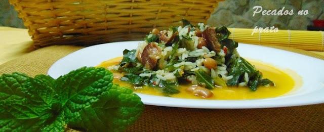 Arroz de feijão com couve galega